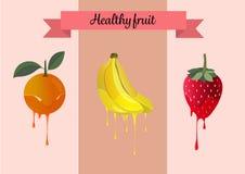 Τα καθορισμένα γλυκά υγιή φρούτα επιδορπίων για τη συσκευασία διαφημίζουν Στοκ Εικόνες
