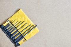 Τα καθορισμένα εργαλεία διατρήσεων καρφιτσών ρόλων για αφαιρούν την καρφίτσα ή το σύρτη οποιουδήποτε μηχανικού Στοκ φωτογραφίες με δικαίωμα ελεύθερης χρήσης