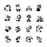Τα καθορισμένα μαύρα εικονίδια δώρων είναι ζημία Στοκ Εικόνα