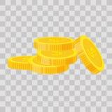 Τα καθορισμένα νομίσματα συσσωρεύουν τη διανυσματική απεικόνιση, επίπεδος σωρός χρηματοδότησης εικονιδίων, σωρός νομισμάτων δολαρ Στοκ Εικόνες