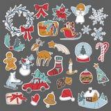 Τα καθορισμένα στοιχεία εικονιδίων Χριστουγέννων μπορούν να χρησιμοποιηθούν για την εμφάνιση Στοκ φωτογραφία με δικαίωμα ελεύθερης χρήσης