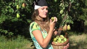 Τα καλά ώριμα φρούτα επιλογών κοριτσιών χωρών από τον κλάδο δέντρων και τρώνε το αχλάδι με ικανοποίηση 4K απόθεμα βίντεο