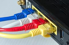 Τα καλώδια Ethernet συνδέουν με το δρομολογητή ή το διακόπτη Στοκ φωτογραφίες με δικαίωμα ελεύθερης χρήσης
