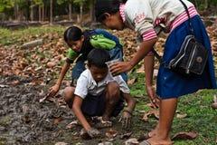 τα καμποτζιανά παιδιά angkor σκάβουν τα σκουλήκια μητέρων wat Στοκ εικόνες με δικαίωμα ελεύθερης χρήσης