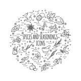 Τα καρυκεύματα και τα καρυκεύματα λεπταίνουν τα εικονίδια γραμμών Στοκ εικόνα με δικαίωμα ελεύθερης χρήσης