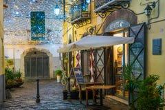 Τα καταπληκτικά φω'τα καλλιτεχνών ` Luci δ ` Artista ` στο Σαλέρνο κατά τη διάρκεια του χρόνου Χριστουγέννων, Campania, Ιταλία Στοκ φωτογραφία με δικαίωμα ελεύθερης χρήσης