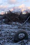 Τα καταρριφθε'ντα δέντρα στα πλαίσια των καπνίζοντας σωλήνων Στοκ Φωτογραφία
