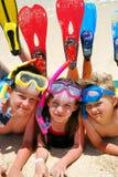 τα κατσίκια κολυμπούν με αναπνευτήρα Στοκ φωτογραφίες με δικαίωμα ελεύθερης χρήσης