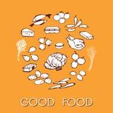 Τα καλά τρόφιμα doodle έθεσαν τα διάφορα προϊόντα Στοκ Φωτογραφία