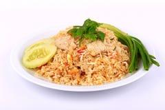 Τα καλύτερα πιάτα, ταϊλανδικό ύφος τηγάνισαν το ρύζι με το χοιρινό κρέας στην Ταϊλάνδη Στοκ φωτογραφία με δικαίωμα ελεύθερης χρήσης