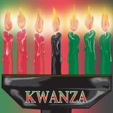 τα κεριά κλείνουν το Kwanza επά Στοκ Εικόνα