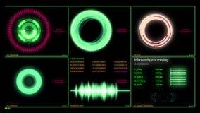 Τα κεφάλια επάνω στην επίδειξη διασυνδέουν infographic Διάφορα ζωντανεψοντα διαγράμματα Infographics ως head-up επίδειξη HUD, τεχ απόθεμα βίντεο