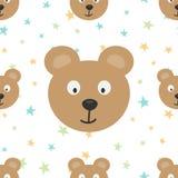 Τα κεφάλια μιας αστείας αρκούδας και χρωματισμένων αστεριών πρότυπο κινούμενων σχεδίω Στοκ Φωτογραφία