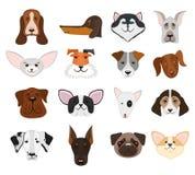Τα κεφάλια σκυλιών και κουταβιών καθορισμένα τη διανυσματική απεικόνιση Στοκ Εικόνες