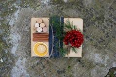 Τα κιβώτια δώρων Χριστουγέννων παρουσιάζουν τη σκηνή με το δέντρο πεύκων, τα ελάφια και τις διακοσμήσεις Χριστουγέννων Στοκ Εικόνες