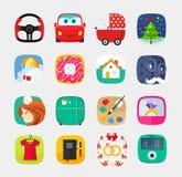 Τα κινητά app εικονίδια καθορισμένα το επίπεδο ύφος, σχέδιο ενδιάμεσων με τον χρήστη Ιστού απεικόνιση αποθεμάτων