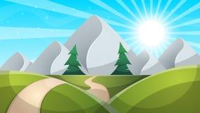 Τα κινούμενα σχέδια ημέρας ταξιδιού Βουνό, έλατο, οδικό illustation διανυσματική απεικόνιση