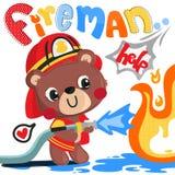 Τα κινούμενα σχέδια teddy αντέχουν το διάνυσμα απεικόνισης πυροσβεστών Στοκ Εικόνα