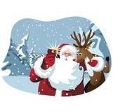 Τα κινούμενα σχέδια Άγιος Βασίλης και ο τάρανδος παίρνουν ένα selfie ελεύθερη απεικόνιση δικαιώματος