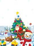 Τα κινούμενα σχέδια Άγιος Βασίλης με το σύνολο σάκων παρουσιάζουν - δώρα - τον ευτυχή χιονάνθρωπο ταράνδων και - χριστουγεννιάτικ Στοκ εικόνες με δικαίωμα ελεύθερης χρήσης