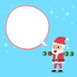 Τα κινούμενα σχέδια Άγιος Βασίλης που κάνουν την πλευρική επέκταση αλτήρων αυξάνουν την κατάρτιση άσκησης με την άσπρη λεκτική φυ Στοκ Φωτογραφία
