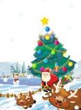 Τα κινούμενα σχέδια Άγιος Βασίλης που πετούν με το σύνολο σάκων παρουσιάζουν - δώρα - το χριστουγεννιάτικο δέντρο - ευτυχής τάραν Στοκ εικόνα με δικαίωμα ελεύθερης χρήσης