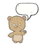 τα κινούμενα σχέδια λίγα teddy αντέχουν με τη λεκτική φυσαλίδα Στοκ Εικόνες