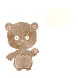 τα κινούμενα σχέδια λίγα teddy αντέχουν με τη σκεπτόμενη φυσαλίδα Στοκ Εικόνες