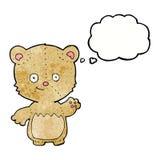 τα κινούμενα σχέδια λίγα teddy αντέχουν με τη σκεπτόμενη φυσαλίδα Στοκ εικόνα με δικαίωμα ελεύθερης χρήσης