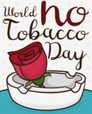 Τα κινούμενα σχέδια αυξήθηκαν και Ashtray για να γιορτάσουν τον κόσμο καμία ημέρα καπνών, διανυσματική απεικόνιση Στοκ φωτογραφίες με δικαίωμα ελεύθερης χρήσης
