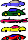 τα κινούμενα σχέδια αυτοκινήτων εύκολα αντικαθιστούν τις αυτοκόλλητες ετικέττες στις ρόδες διανυσματική απεικόνιση