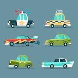 τα κινούμενα σχέδια αυτοκινήτων εύκολα αντικαθιστούν τις αυτοκόλλητες ετικέττες στις ρόδες Στοκ εικόνα με δικαίωμα ελεύθερης χρήσης