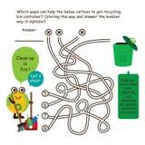 Τα κινούμενα σχέδια γραμμών παιχνιδιών λαβυρίνθου ρίχνουν τα σκουπίδια Στοκ Φωτογραφία