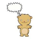 τα κινούμενα σχέδια ευτυχή λίγα teddy αντέχουν με τη λεκτική φυσαλίδα Στοκ φωτογραφία με δικαίωμα ελεύθερης χρήσης