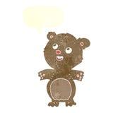 τα κινούμενα σχέδια ευτυχή λίγα teddy αντέχουν με τη λεκτική φυσαλίδα Στοκ Φωτογραφίες