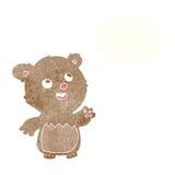τα κινούμενα σχέδια ευτυχή λίγα teddy αντέχουν με τη σκεπτόμενη φυσαλίδα Στοκ φωτογραφία με δικαίωμα ελεύθερης χρήσης