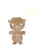 τα κινούμενα σχέδια ευτυχή λίγα teddy αντέχουν με τη σκεπτόμενη φυσαλίδα Στοκ εικόνα με δικαίωμα ελεύθερης χρήσης