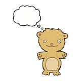 τα κινούμενα σχέδια ευτυχή λίγα teddy αντέχουν με τη σκεπτόμενη φυσαλίδα Στοκ Εικόνες