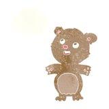 τα κινούμενα σχέδια ευτυχή λίγα teddy αντέχουν με τη σκεπτόμενη φυσαλίδα Στοκ εικόνες με δικαίωμα ελεύθερης χρήσης