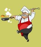 Τα κινούμενα σχέδια η χαρά αρχιμαγείρων που πηδά με ένα τηγανίζοντας τηγάνι Στοκ εικόνες με δικαίωμα ελεύθερης χρήσης