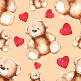Τα κινούμενα σχέδια καλό Teddy αντέχουν το άνευ ραφής σχέδιο ημέρας του βαλεντίνου Αγίου Στοκ εικόνες με δικαίωμα ελεύθερης χρήσης