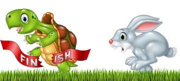 Τα κινούμενα σχέδια μια χελώνα κερδίζουν τη φυλή ενάντια σε ένα λαγουδάκι διανυσματική απεικόνιση