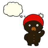τα κινούμενα σχέδια που κυματίζουν μαύρο teddy αντέχουν στο χειμερινό καπέλο με τη σκέψη bubbl Στοκ Εικόνες