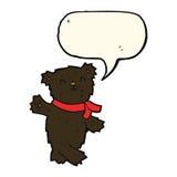 τα κινούμενα σχέδια που κυματίζουν το teddy Μαύρο αντέχουν με τη λεκτική φυσαλίδα Στοκ φωτογραφίες με δικαίωμα ελεύθερης χρήσης