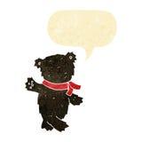 τα κινούμενα σχέδια που κυματίζουν το teddy Μαύρο αντέχουν με τη λεκτική φυσαλίδα Στοκ εικόνες με δικαίωμα ελεύθερης χρήσης