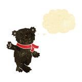 τα κινούμενα σχέδια που κυματίζουν το teddy Μαύρο αντέχουν με τη σκεπτόμενη φυσαλίδα Στοκ Φωτογραφίες