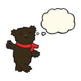 τα κινούμενα σχέδια που κυματίζουν το teddy Μαύρο αντέχουν με τη σκεπτόμενη φυσαλίδα Στοκ φωτογραφία με δικαίωμα ελεύθερης χρήσης