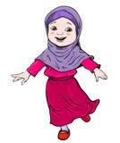 Τα κινούμενα σχέδια του μουσουλμανικού κοριτσιού κάνουν το τρέξιμο - διανυσματική απεικόνιση Στοκ εικόνα με δικαίωμα ελεύθερης χρήσης