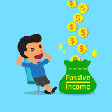 Τα κινούμενα σχέδια χαλαρώνουν το άτομο που κερδίζει το παθητικό εισόδημα διανυσματική απεικόνιση