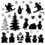 Τα κινούμενα σχέδια Χριστουγέννων, έθεσαν τις μαύρες σκιαγραφίες Στοκ Φωτογραφίες